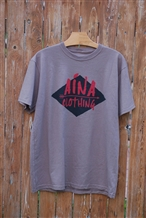 Men's Aina Clothing organic cotton Arrow T-shirt printed with water based inks. Black diamond behind red Aina Clothing with an arrow between the words.