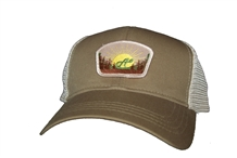 Aina Clothing organic cotton Quoddy Head Trucker Hat. Trees, rising sun with Aina logo.