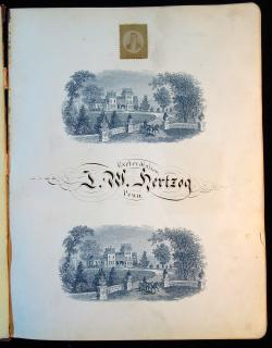A large format autograph and friendship album with fine Calligraphy, Autographs and Stamp Portraits of classmates belonging to J. W. Hertzog, Exeter Station PA, from his senior year at Eastman College, Poughkeepsie, New York. 1894. 1894