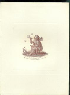 Stipple engraving of cupid blowing bubbles.