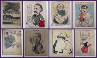 A collection of approximately 40 Satirical Caractures from Les Hommes 'aujourd and other publications. 1880s . ..