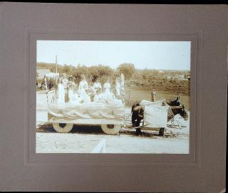 Horse Drawn Parade Float - Harvest Festival - Flora, Ceres, Pomona. .Raymond, NH.1914