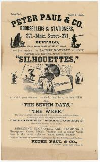 Illustrated Handbill Promoting Silhouettes and other Stationer's Products