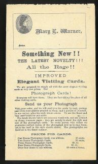 Leaflet Promoting Improved Elegant Visiting Cards - Photograph Cards! c1870. ..