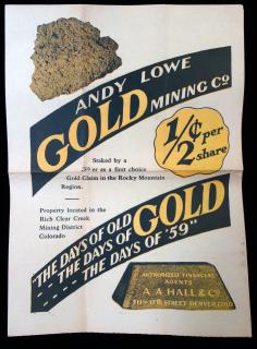 1/2 Cent Per Share: Andy Lowe Gold Mining Co. A. A. Hall & Co.Colorado.1925