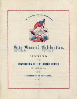 Program for City Council Celebration, signing of the Constitution of the United States of America.  Independence Square. September 1861.  .