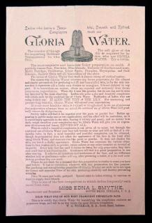 Gloria Water Promotional Flyer with Testimonials c1890 ..