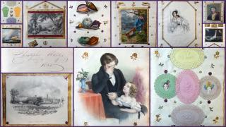 1835 Album Assemblage, Christopher Aldridges with Dresdin Scrap decorated pages1835