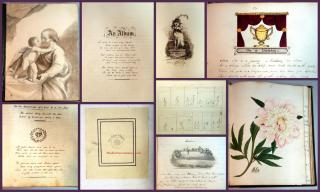 Large Format Commonplace Album Comprised by a Gentleman in 1828 and Another in 1900. Miniature Lord's Prayer, Sketches1828