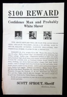 $100 Reward – Confidence Man and Probably White Slaver. C1920. . ..