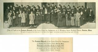 Promotional Piece Image from Photograph of Pupils at the Eastern Branch of the Lewis School for Stammerers. Boys and Girls, Men and Women, eight to fifty years.. .Boston.1907