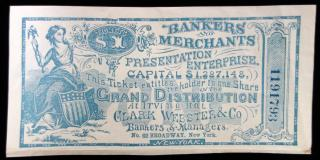 Ticket to Bankers' and Merchants Presentation Enterprise held at Irving Hall c1867, presented by Clark Webster & Co. NCY. ..