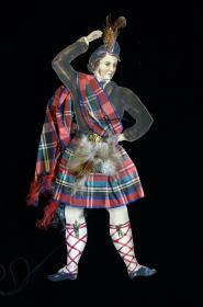 "Fine 12"" Watercolor Dressed Scotsman with Articulated Legs c1890s"