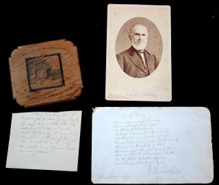 "John Greenleaf WhittierAutographed Cabinet Card, Manuscript Sign Verse and pen and ink of ""The Captain's Well"" 1870s-1880s"