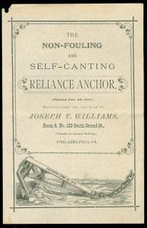 The Non-fouling and Self-canting Reliance Anchor, Joseph T. Williams, Philadelphia. June 1, 1875