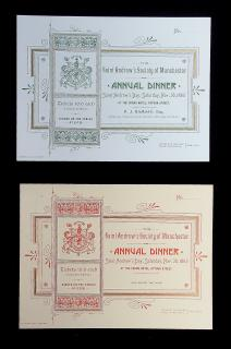 Two Tickets for Saint Andrews Society of Manchester Annual Dinner, Saturday November 30 1895. Cuthbertson & Black. Manchester, UK. 1895
