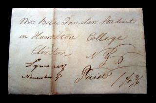 Polly Fancher. Correspondence Between Siblings, Clinton, NY, 1827. .Clinton, NY.1827