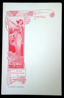 Art Nouveau Blank Advertising Menu Sheets, B. Leon Croizet Grande Fine Champagne and St. Meme Cognac, ca. 1900. ..