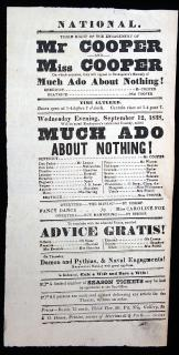 Shakespeare. Mr. Cooper and Miss Cooper in Much Ado About Nothing.  E.G. House.National Theatre, New York City.1838
