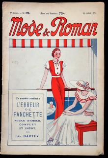 Mode & Roman, Weekly French Art Deco Fashion Magazine - Patterns, Novellette, Features July 1934. ..