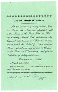 A Grand Musical Soiree Invitation, featuring Geogre W. Dixon, March 26, 1835. .Massachusett.March 26, 1835
