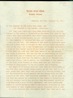 Letter re By-laws Amendment Advising Which Woman may Attend Santa Cruz Club Function, Nogales AZ 1911