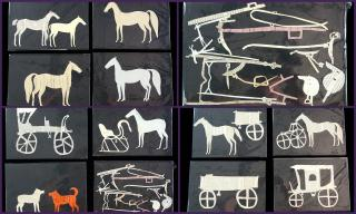 16 Cut Horses, Carriages and Wagons with Saddles and Bridle, Mary Lapham, NY 1867 , plus Copybook