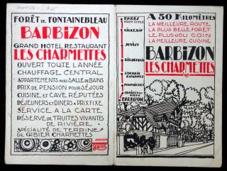Promotional Brochure - Barbizon Les Charmettes & the Resumption of Sunday Dinners c1930s Illustrated by Pol Rab in Red & Black ..