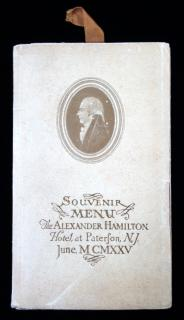 Souvenir Booklet with Menu and Dance Card for Inauguration of The Alexander Hamilton Hotel, Paterson NJ, 1925..