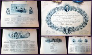 Invitation, Program and Menu for Centennial Celebration of the Inauguration of George Washington, Lawyers' Club, NYC . Tiffany & Co...April 29, 1889