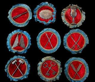 A Collection of Nine Emblems of Fraternal Symbols