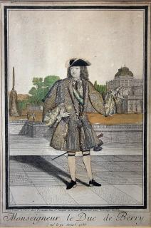 Monseigneur Le Duc de Berry (Charles, Duke of Berry) (1686-1714)- Fabric Dressed Engraving