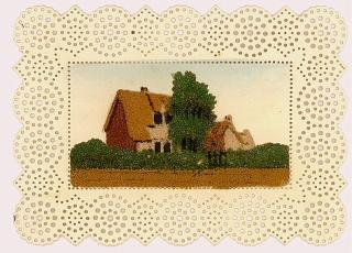 Miniature Sand Painting - The Dairyman's Cottage, Worked on Lace Paper. ..