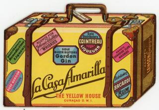 Liquor Catalog and Price List, The Yellow House, Curacao, D.W.I. Die-cut in the Shape of Luggage. .Curacao, D. W. I. .c1935.