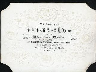 Deeply Embossed Coated Stock Invitation to Double 25th Anniversary Party - Miscellaneous Wedding. .Camden NJ.1874