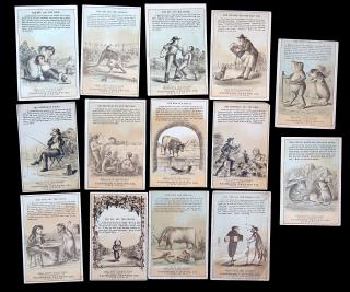 A collection of 14 different 'Aesop's Fables revides and Improved by the Fairbank Canning Co. aka 'fractured fables'. ..c1885
