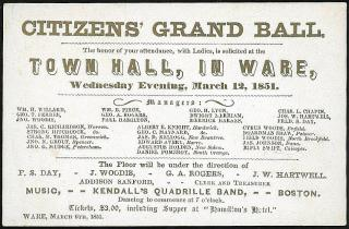 Invitation - Citizens' Grand Ball, Town Hall, In Ware (MA). ..March 12, 1851