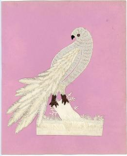 Fine and Delicate Cutwork Parrot on a Perch. ..