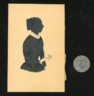 Watercolor Silhouette of Elegant Lady holding Nosegay. ..c1848