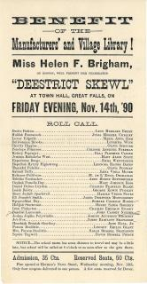 "Benefit of the Manufactures' and Village Library!  Miss Helen F. Brigham, Of Boston Presents ""Deestrict Skewl"" . .Great Falls, NH.1890"