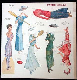 Uncut Sporting Women Paper Doll Set D Sheet No. 0104. McLoughlin.New York.1911-1913