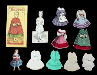 Cut McLoughlin Hattie, 4 Original Costumes and 4 Handmade Costumes with Envelope. McLoughlin Bros..New York.1868