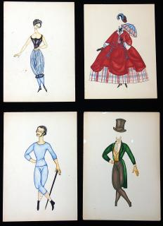 Jane Langton Original Art - 2 Watercolor Paper Dolls and Costumes in Stylized 1850s attire. ..