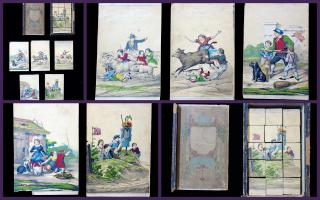 Boxed Set - Early Litho Puzzle Blocks or Cubes- Bizarre Imagery -  Children Trampled by Animals & Children at War. ..c1860s