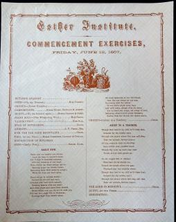 Esther Institute, Commencement Exercise Program. .Columbus, Ohio.June 12,1857