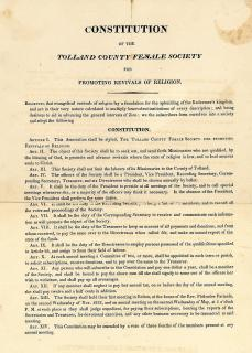 Constitution of the Tolland County Female Society for Promoting Revivals of Religion