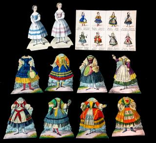 Female National Costumes of Europe Paper Dolls. ..c1840s