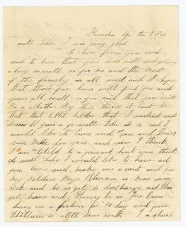 "Caroline Holt Low Literacy Phonetic Spelling - A letter to a ""Lebbe"" about life and sons returning from war. .Kenosha, WI.1866"