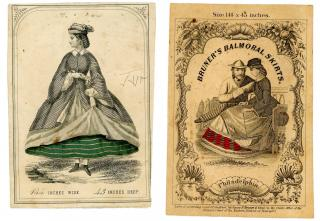 Two Fabric Labels - Balmoral Skirts - to be worn over Crinolines. .Philadelphia, PA.c 1860
