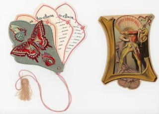 Two (2) Die-cut German Liederkranz Fancy Dress Balls Dance Cards. Heppenheimer & Mauer.New York City.1881-1882